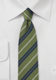 Cedar Green and Navy Striped Skinny Tie - $15