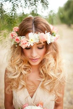 soft voluminous curls with a flower crown very cute