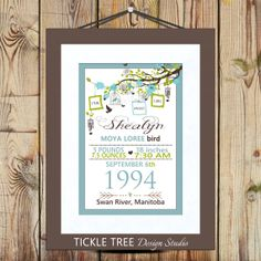 "13"" x 19"" Wall Art Print: Birth Announcement Celebration - Birth Stats - Hanging Vine Theme"