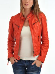 Leather Jacket For Women's New Style Genuine Soft Ship Skin Leather #A14 #NationalLeather #NewStyleLeatherBasicMotorCycleJacket