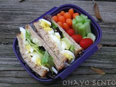 egg salad sandwich, carrots, celery, and tomatoes