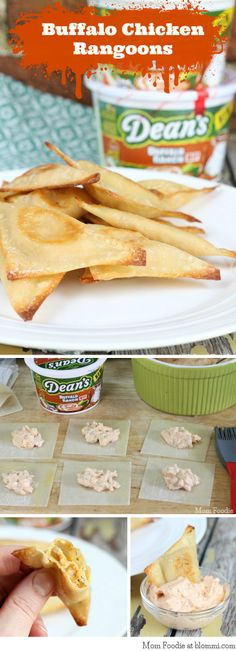 Buffalo Chicken Rangoons (Oven Fried) #DeansDip #BuffaloRanch #sponsoredrecipe