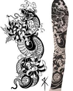 Japanese Snake Tattoo, Japanese Flower Tattoo, Japanese Dragon Tattoos, Japanese Tattoo Designs, Japanese Sleeve Tattoos, Full Hand Tattoo, Full Sleeve Tattoo Design, Dragon Tattoo Sketch, Tattoo Sketches
