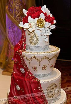 Topsy Turvy Asian Indian Wedding Cake - don't love the slanted tiers but piping on middle tier could be really nice for Meg's wedding cake! Henna Wedding Cake, 3 Tier Wedding Cakes, Wedding Cake Cookies, Indian Wedding Cakes, Elegant Wedding Cakes, Beautiful Wedding Cakes, Wedding Cake Designs, Beautiful Cakes, Dream Wedding