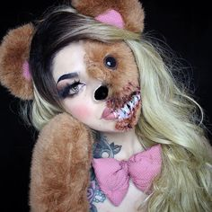Teddy Bear Scare using Mehron Makeup - Make-up Art - Halloween Halloween Makeup Looks, Halloween Costumes For Girls, Halloween 2019, Spooky Halloween, Dose Of Colors, Anastasia Beverly Hills, Special Effects Makeup Gore, Bear Makeup, Horror Make-up