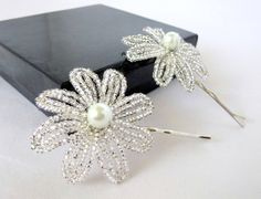 25 OFF  French Beaded Flower Bobby Pins in by LaurenHCreations, $12.00