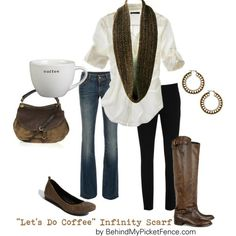 """Casual & Classy - boots or flats - """"Let's Do Coffee"""" infinity scarf by behindmypicketfence.com"""