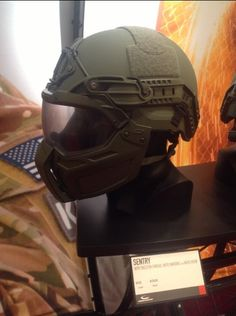 This is the Sentry helmet that debuted last year along with the new Moto Mandible and Moto Visor. These are add-ons to the helmet for use in turrets or static positions.  The Moto Visor opens and closes with indexing increments to allow for multiple vented positions and its designed to be used in conjunction with eye pro.  As you can see, it also works with NODs.