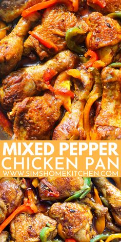 This one-pan mixed pepper chicken is simply mouthwatering! It is filled with fresh, delicious, flavours and spices. Plus it is low-carb, paleo and whole 30 friendly! Baked Chicken Recipes, Pasta Recipes, Beef Recipes, Drink Recipes, Spicy Recipes, Sweets Recipes, Turkey Recipes, Cooking Recipes, Chicken Stuffed Peppers