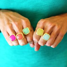 Jade Stone Rings - love these for summer