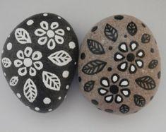 Painted Rocks - Black & White Flower Rocks - Set of Two