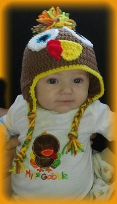 Crochet Turkey Hat with Matching Turkey Applique by LEACreations, $25.00