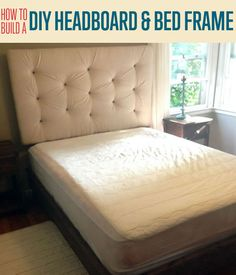 How To Build a DIY Upholstered Headboard and Bed Frame | Step-by-step Tutorial and How-To for Cool and Easy DIY Headboard with Simple Do It Yourself Upholstery http://diyready.com/how-to-build-a-diy-upholstered-headboard-and-bed-frame/