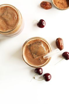 HEALTHY Chocolate Cherry Almond Milk! 4 ingredients, SO simple and INCREDIBLY delicious! #vegan #glutenfree #chocolate