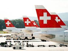 Swiss International Air Lines ZRH hub Swiss Flag, Swiss Air, Cabin Design, Print Ads, Visual Identity, Vintage Posters, Aviation, Aircraft, Airports