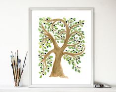 Art print Olive Tree, olive tree watercolor, Mediterranean, home decor, Olive green, olive tree painting, mountain of spices