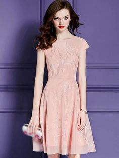 O-Neck Short Sleeve Embroidery Skater Dress