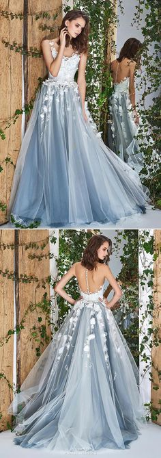 This blue gown from Papilio featuring beautiful floral embroideries is filled with angelic romance!