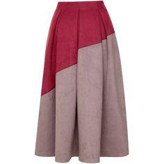 Emily Lovelock - Silk Blend Flared Skirt ($270) ❤ liked on Polyvore featuring skirts, brown skirt, flared skater skirt, color block skirt, skater skirt and circle skirt