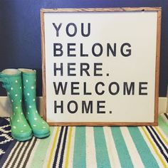 You Belong Here Welcome Home sign with custom colors: 24x24x1.5 Pictured with White Background, Black Lettering, and Walnut Frame Pick your own colors for a customized piece. This sign will make a statement with its 2x2 size. This item is handmade right on the farm here in Idaho. Full of that farmhouse chic, Fixer-Upper style that were all craving. Customize your wood sign with your choice of lettering color and frame stain options. Perfect for any room of the house! Here at Huckleberry…