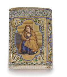 A silver-gilt and enamel pictorial cigarette case, Ovchinnikov, Moscow, 1883