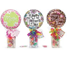 "#burtonandburton Mother's Day Gift Candleholder/Vase Assortment.Glass candleholder/vase, 9"" air-filled balloon, pre-wrapped branded candy, ribbon curls & cellophane.  Can make myself jar at Walmart."