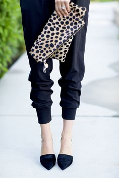 pointy toes and animal print clutch