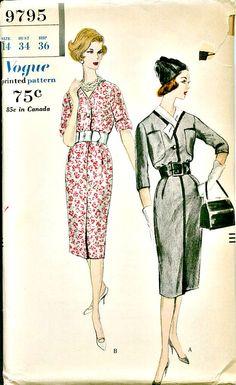 1950's Vintage Vogue Pattern - Sheath Dress with Dickey - VOGUE 9795  Circa 1959
