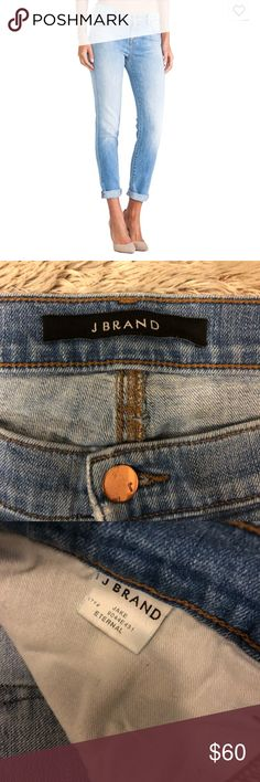 "J Brand Jake Skinny Boyfriend Jeans Great j brand jeans in their ""eternal"" wash. The stock photo is better at showing the true color of the jeans, my photos are a little dark. Make me an offer! J Brand Jeans"