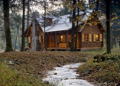 Rustic Retreat: Log Cabin in the Woods. Description from pinterest.com. I searched for this on bing.com/images