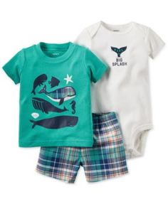 Carter's Baby Boys' 3-Piece T-Shirt, Bodysuit & Shorts Set