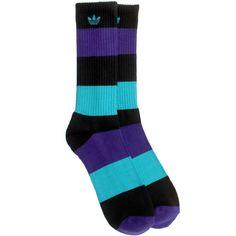 Adidas Originals Crew Socks (black / purple) Q18144 - $7.99