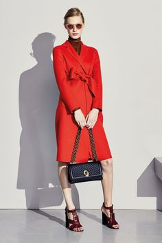 Lovely red coat with bow belt at Bottega Veneta pre-fall 2017