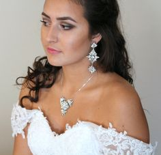 Statement Wedding earrings Swarovski Bridal by treasures570