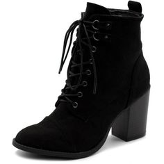 Ollio Women's Shoe Faux Suede Lace Up Stacked High Heel Ankle Boots... ($30) ❤ liked on Polyvore featuring shoes, boots, ankle booties, lace-up bootie, wide width ankle boots, lace-up ankle boots, black booties and short black boots
