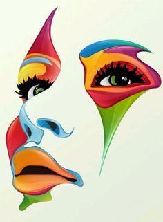 Uniek schilderij met mooie kleurencombinaties. De persoon die is afgebeeld is niet herkenbaar.