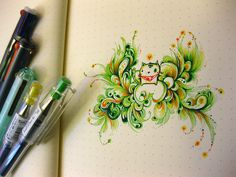 The colors are so lovely in this drawing. I love Pilot Hi Tec Gel pens!
