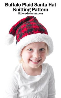 This cute buffalo plaid Santa hat knitting pattern is a fun cozy twist on a traditional Christmas knitting pattern for your baby or toddler! Baby Hat Knitting Pattern, Fair Isle Knitting Patterns, Baby Hat Patterns, Christmas Knitting Patterns, Easy Crochet Patterns, Knitting Ideas, Crochet Ideas, Crochet Gifts, Knit Crochet