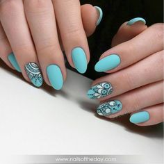 75 Best Turquoise Nails Art Design Ideas for 2019 Green Nails, Blue Nails, White Nails, My Nails, Turquoise Nail Art, Manicure, Artificial Nails, Prom Nails, Perfect Nails