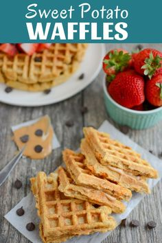 These Sweet Potato Waffles are kid-friendly and perfect for breakfast pre-workout fuel or an afternoon snack. Add some peanut butter in the middle for a fun waffle sandwich! Healthy Afternoon Snacks, Healthy Breakfast Recipes, Yummy Snacks, Healthy Snacks, Eating Healthy, Healthy Recipes, Waffle Recipes, Baby Food Recipes, Waffle Toppings