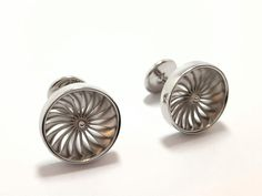 - Jet Engine Cufflinks styled on a fan of a jet engine and produced in sterling silver Wedding Ring For Her, Wedding Pins, Gifts For Wedding Party, Party Gifts, Gentleman, Sterling Silver Cufflinks, Jet Engine, Family Jewels, Toe Rings