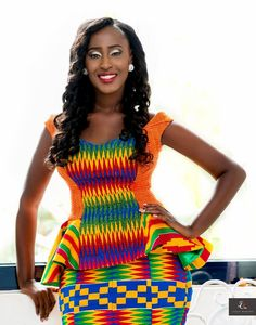 Get ready to be blown away with these latest kente styles with colourful Ghanaian kente … African Print Dresses, African Print Fashion, African Fashion Dresses, African Attire, African Wear, African Women, African Dress, African Prints, African Style