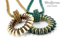 Fanfare Pendant by TrendSetter Leslee Frumin | Free beaded necklace pendant with CzechMates QuadraTile and Triangle!