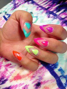 Negative space pastel nails