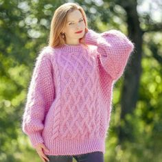 Mohair Sweater, Cable Knit Sweaters, Turtle Neck, Pullover, Knitting, Pink, Fashion, Moda, Tricot