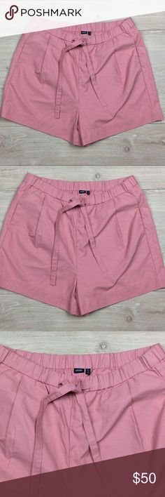 """NWOT Kate Spade Saturday Shorts New without tags. Kate Spade pink tie shorts . Size 6. Draw string waist. Darted front with pockets. Great thick material. Waist approximately 28/30"""" laying flat, inseam 4"""" total length 30"""" Cotton nylon Blend. kate spade Shorts"""