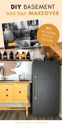 Our DIY basement wet bar is done! It's modern, rustic and with a little industrial. We've got so many basement bar ideas packed in here: including our DIY black SMEG fridge hack, our custom bar brewery sign, faux brick and plaster wall treatment, painted basement ceiling, converted buffet to wet bar, rustic wood floating shelf with antlers and more! Diy Furniture Easy, Diy Furniture Projects, Basement Ceiling Painted, Rustic Wood Floating Shelves, Frugal Family, A Frame House, Faux Brick, Wall Treatments, Basement Remodeling