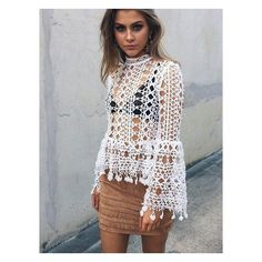 White Bell Sleeve Cut Out Lace Blouse ($50) ❤ liked on Polyvore featuring tops, blouses, cutout blouse, bell sleeve tops, lace bell sleeve top, cutout tops and white lace blouse