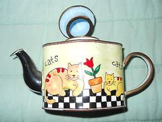 Kelvin Chen Enameled Miniature Teapot 'Cats' no. 2172 1999 cat♥•♥•♥