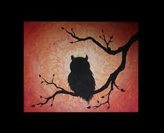 Owl in a Tree Silhouette Painting Sillouette Painting, Easy Canvas Painting, Galaxy Painting, Autumn Painting, Dot Painting, Owl Canvas, Canvas Art, Owl Silhouette, Easy Drawings